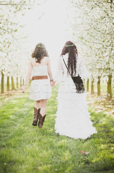 Tavasz kettő hippi lányok cseresznyevirág séta Stock fotó © runzelkorn