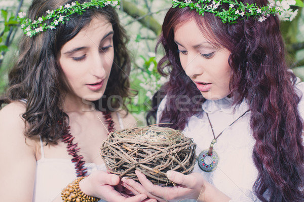 Two Girls with bird nest Stock photo © runzelkorn