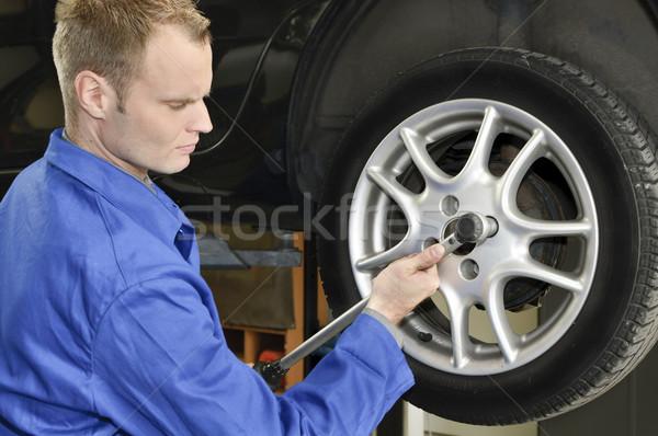 Changing tires in the garage Stock photo © runzelkorn