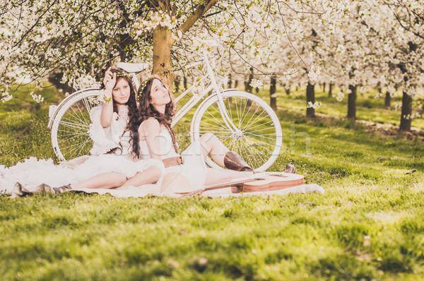 Piknik cseresznyevirág bicikli kettő fiatal nők fehér Stock fotó © runzelkorn