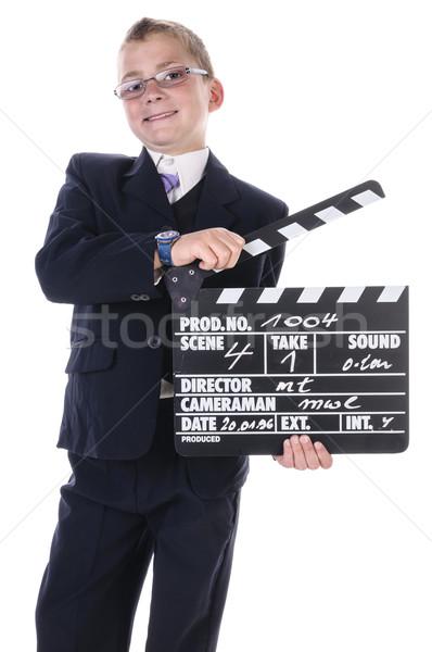 Kicsi igazgató tizenéves fiú visel sötét öltöny Stock fotó © runzelkorn