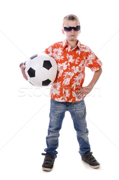 少年 サッカー 小 オレンジ シャツ ストックフォト © runzelkorn