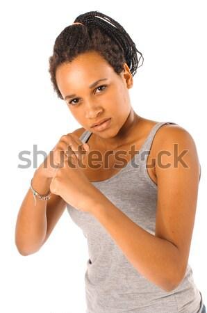 Rúgás box fiatal afrikai lány arc Stock fotó © runzelkorn