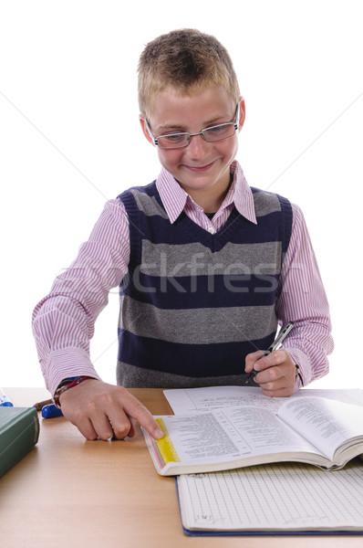 Fiú házi feladat fiatal okos iskolás fiú lelkesedés Stock fotó © runzelkorn