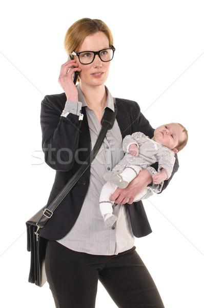 女性実業家 赤ちゃん 成人 女性 着用 シャツ ストックフォト © runzelkorn
