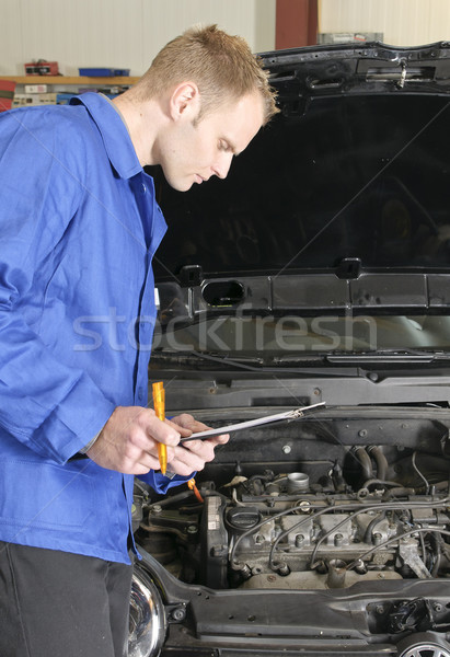 Foto d'archivio: Meccanico · auto · verificare · auto · motore · garage