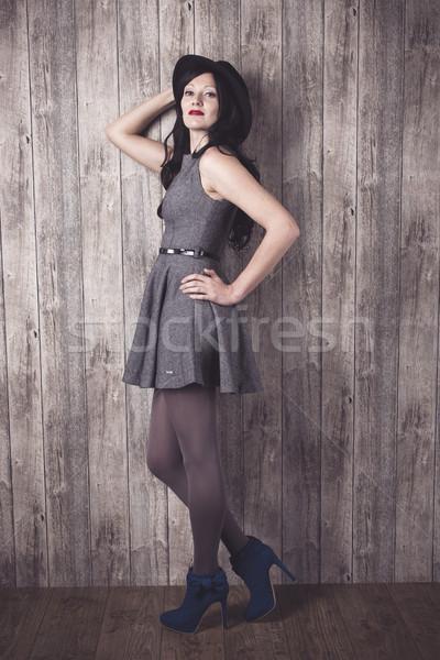 Moda kız gri elbise portre zarif Stok fotoğraf © runzelkorn