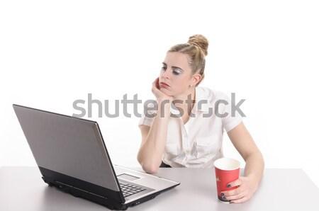 退屈 作業 若い女性 ブロンド 髪 着用 ストックフォト © runzelkorn