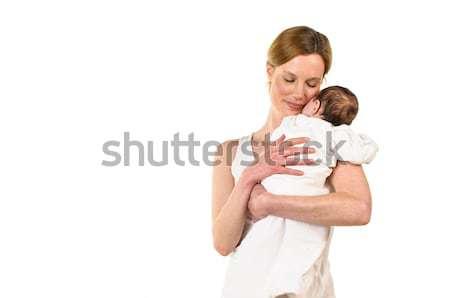 Stok fotoğraf: Yetişkin · kadın · bebek · silah · beyaz