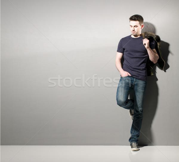 Fiatalember lezser visel copy space portré okos Stock fotó © runzelkorn