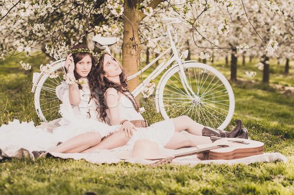 ピクニック 桜 2 若い女性 白 ドレス ストックフォト © runzelkorn
