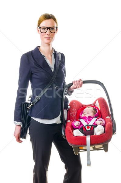 Anya baba ülés felnőtt nő sötét Stock fotó © runzelkorn