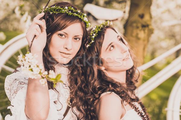 Piknik cseresznyevirág kettő fiatal nők fehér ruhák Stock fotó © runzelkorn