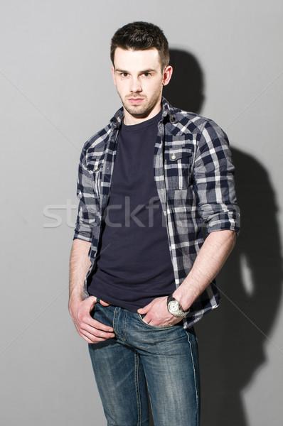 Fiatalember lezser visel portré okos visel Stock fotó © runzelkorn