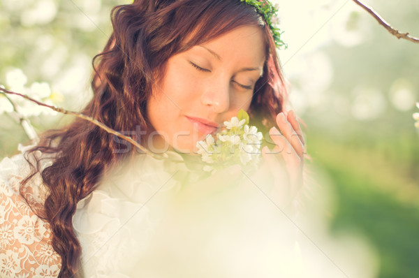 Kokulu romantik kız hippi beyaz Stok fotoğraf © runzelkorn