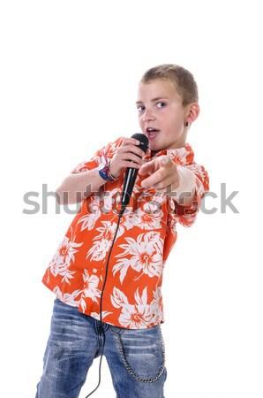 Genç şarkıcı sarışın parlak turuncu Stok fotoğraf © runzelkorn