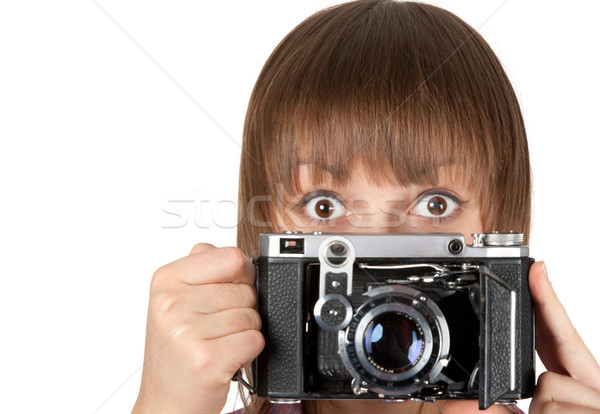 Portrait young girl with old analog photo by camera Stock photo © RuslanOmega