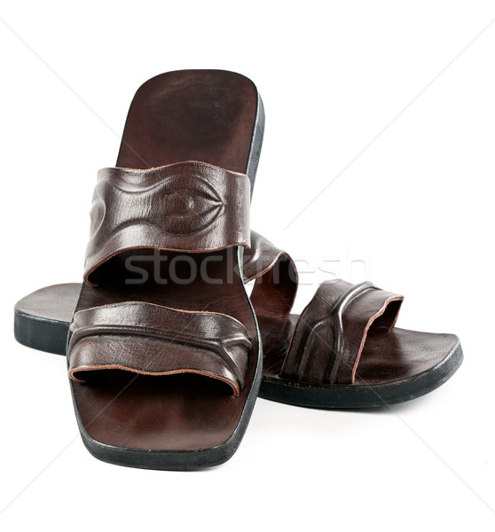 a pair of leather slippers for men Stock photo © RuslanOmega