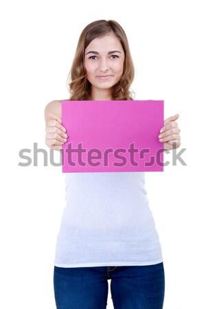 Piękna dziewczyna różowy arkusza papieru biały Zdjęcia stock © RuslanOmega