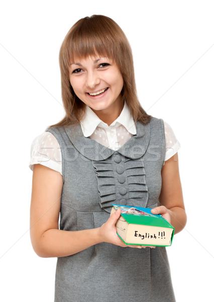 Young girl with dictionary english Stock photo © RuslanOmega