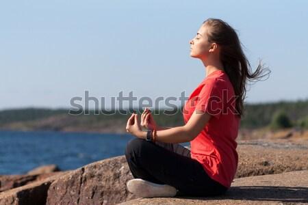 若い女の子 蓮 ポーズ 岩 若い女性 座って ストックフォト © RuslanOmega