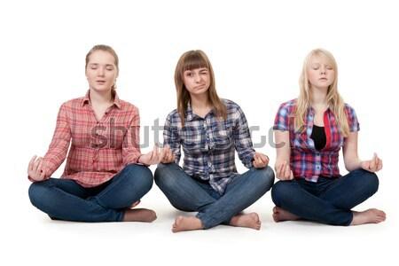 Három lányok ül lótusz szépség kék Stock fotó © RuslanOmega