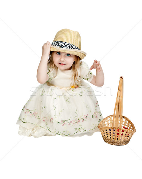 little girl in a straw hat with a basket woven Stock photo © RuslanOmega