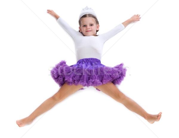 Foto stock: Little · girl · bailarina · dançarina · piso · forma · estrela