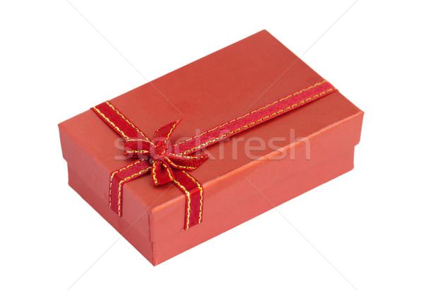 Piros ajándék doboz izolált fehér papír esküvő Stock fotó © RuslanOmega