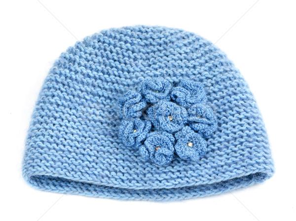 Foto stock: Azul · de · punto · sombrero · aislado · blanco · tejido