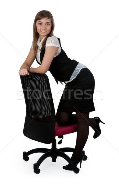 Belo negócio senhora em pé cadeira cadeira de escritório Foto stock © RuslanOmega