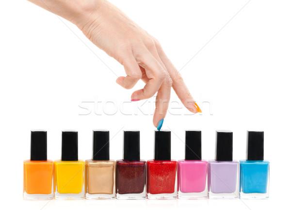 Foto stock: Feminino · mão · dedos · branco
