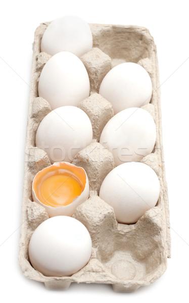 Yumurta yumurta sarısı kabuk bir arka plan Stok fotoğraf © RuslanOmega