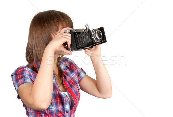Young girl with old analog photo by camera Stock photo © RuslanOmega
