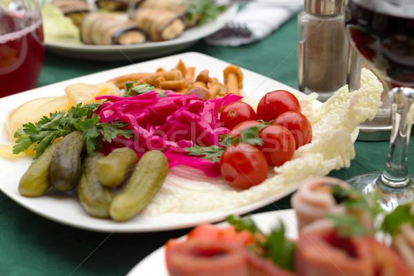 Marynowane warzyw tablicy restauracji zielone obiedzie Zdjęcia stock © RuslanOmega