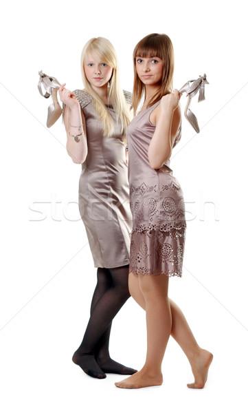 Сток-фото: два · красивой · девочек · платье · белый · женщины