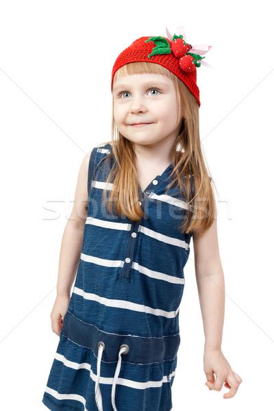 счастливым улыбаясь девочку белый студию довольно Сток-фото © RuslanOmega