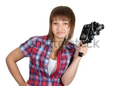 Mooi meisje shirt filmcamera witte vrouw Stockfoto © RuslanOmega