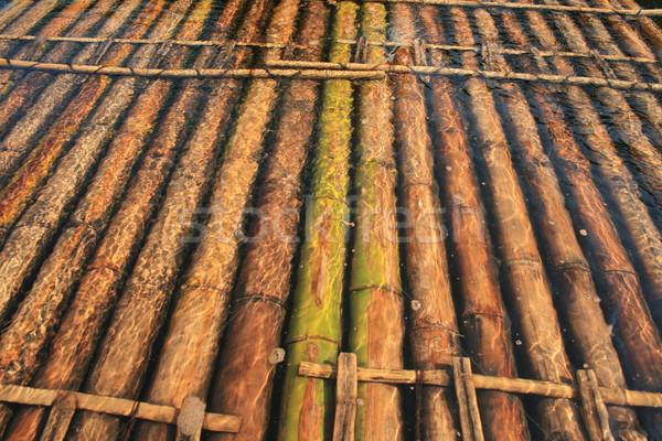 Bamboe vlot rivier water hout abstract Stockfoto © RuslanOmega