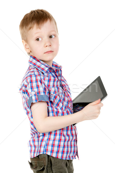 Stock photo: boy with a Tablet PC