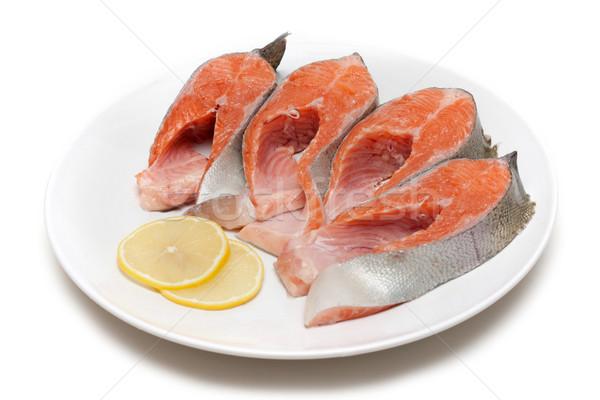 красный рыбы бит лимона пластина белый Сток-фото © RuslanOmega