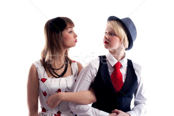 Two girls will wipe friend on friend Stock photo © RuslanOmega