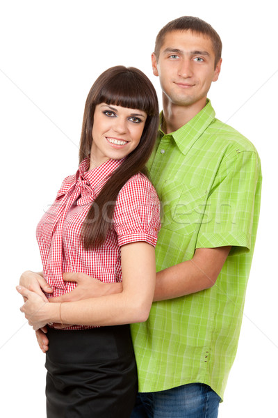 Family portrait, couple in love in the color clothes on a white  Stock photo © RuslanOmega