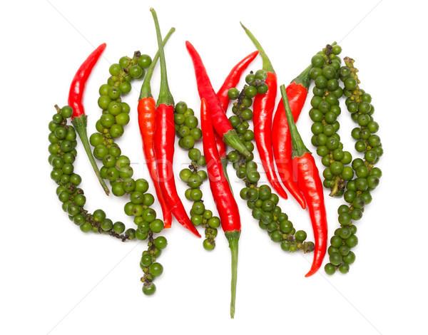 chili pepper and green bell pepper Stock photo © RuslanOmega