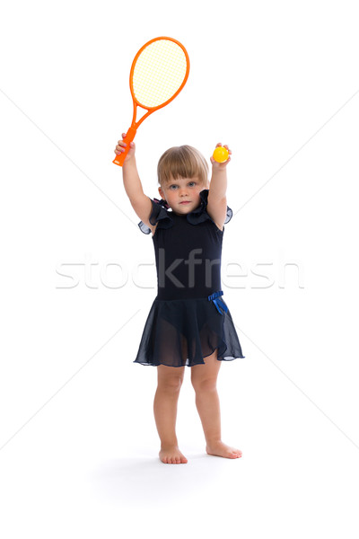 Little girl jogar tênis estúdio branco Foto stock © RuslanOmega