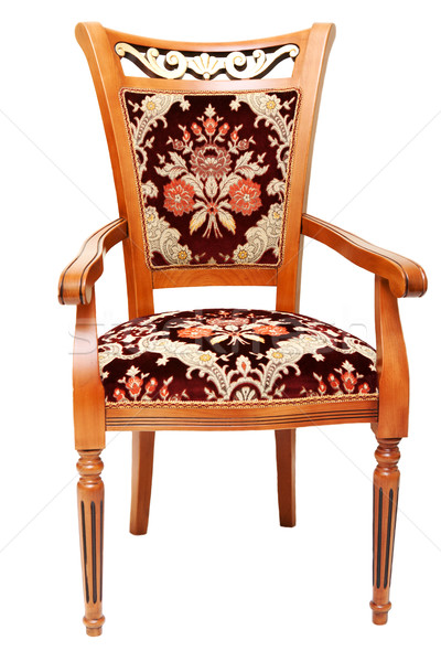 Beautiful wooden chair with expensive drapes Stock photo © RuslanOmega