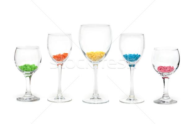 Szemüveg szín magas borospoharak védtelen csetepaté Stock fotó © RuslanOmega