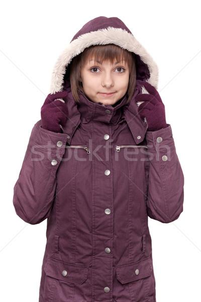 Lány tél ibolya kapucnis kabát fehér Stock fotó © RuslanOmega