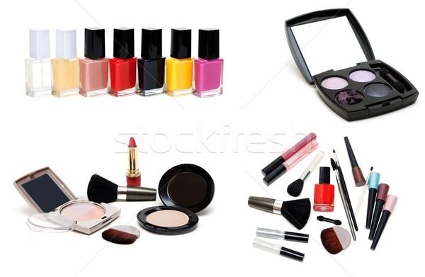 Collage varnish for nail and set for make-up Stock photo © RuslanOmega