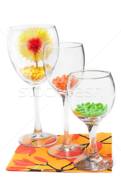Three glasses with colour sweetmeat Stock photo © RuslanOmega